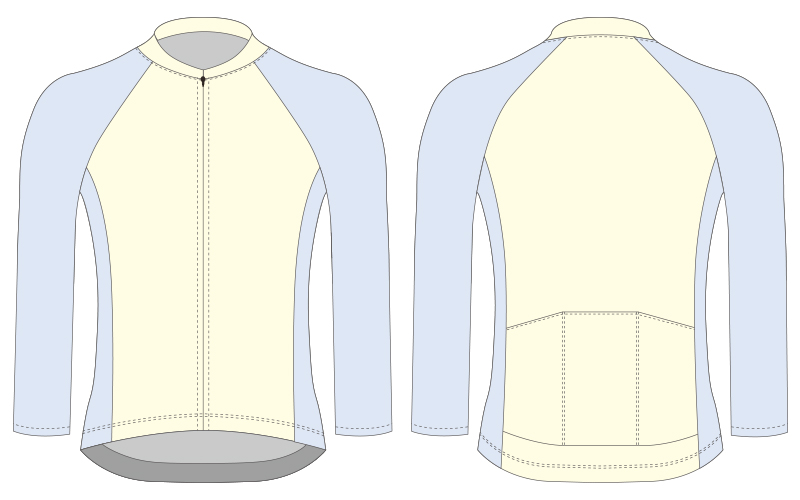 long sleeve cycling jersey blank template