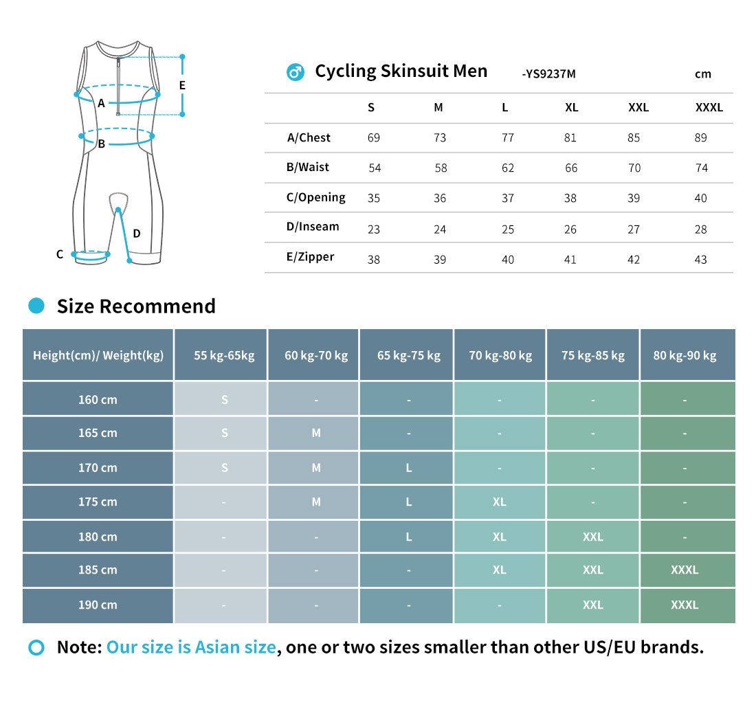 skin suits size chart