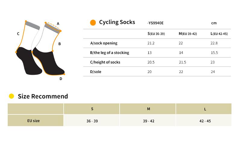 cycling socks size chart